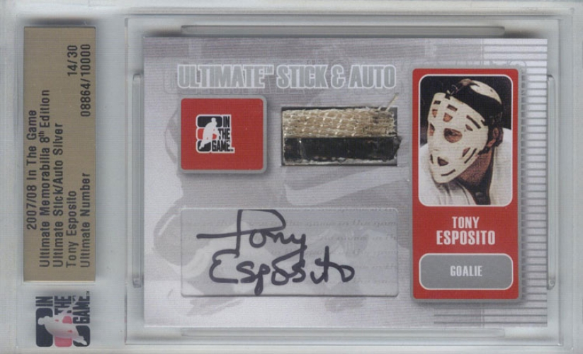 2007-08 ITG Ultimate Memorabilia Sticks Autos /30 Tony Esposito