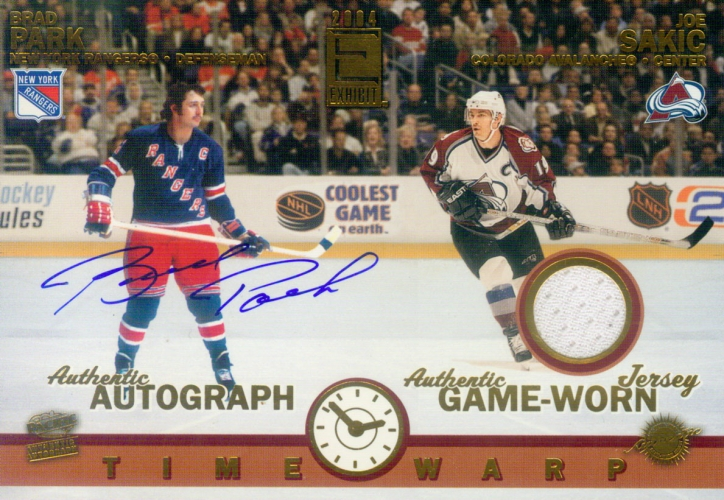 2003-04 Pacific Exhibit  Time Warp /565 (oversized) Sakic/Park