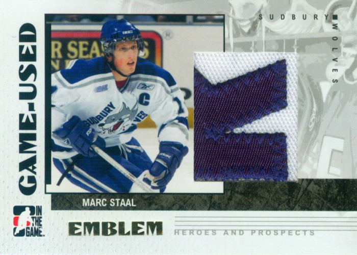 2007-08 ITG Heroes and Prospects Emblems print run /30 Marc Staal