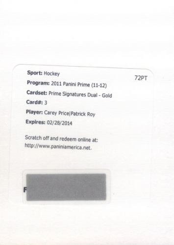 2011-12 Panini Prime Signatures Duals Gold /15 Price/Roy REDEMPTION