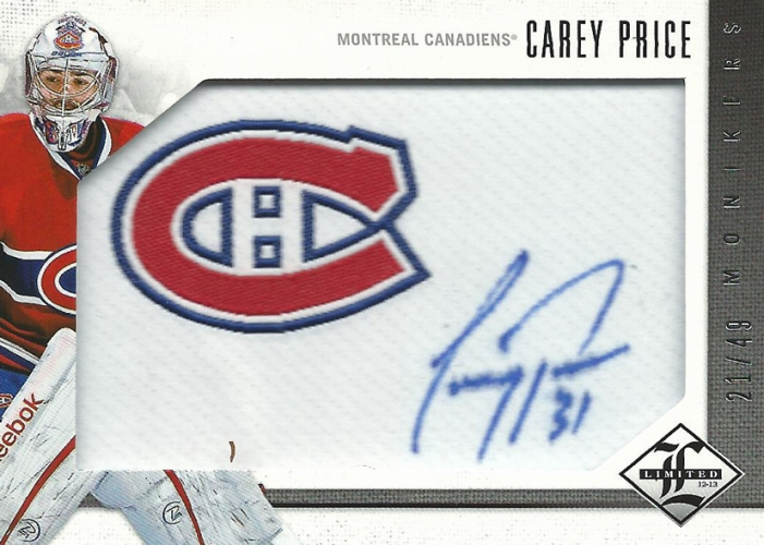 2012-13 Limited Monikers Silver /49 Carey Price