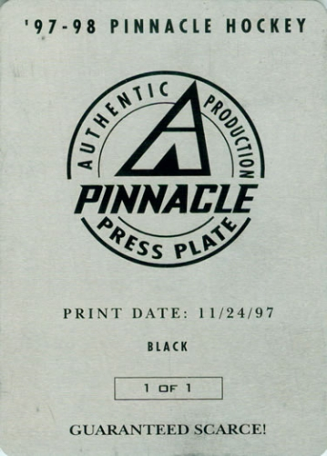 1997-98 Pinnacle Press Plates Back Black Brian Savge